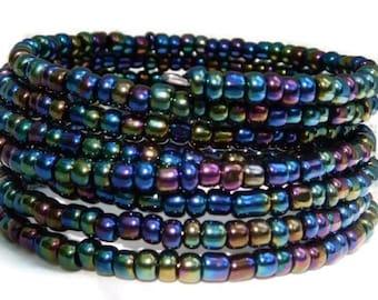 Dark and Iridescent Wrap bracelet