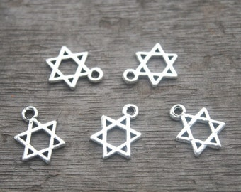 20pcs--Little Star of David charms antique silver 6 pointed star hexagram 21x16mm D0185