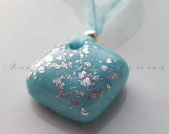 Pendant Handmade Turquoise Polymer Clay Pendant With Silver Leaf
