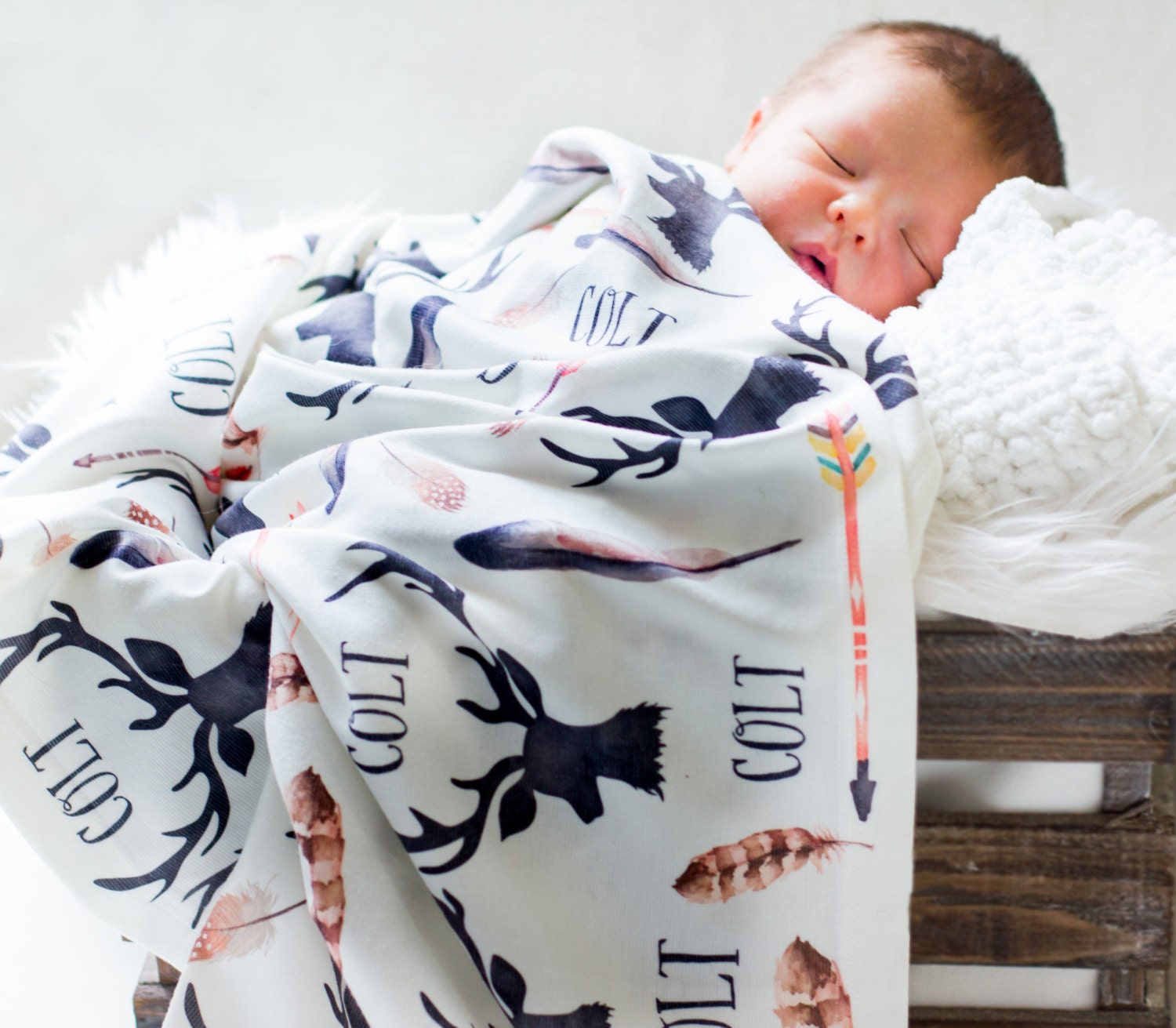 Personalized Baby Blanket Deer Antlers And Arrows By