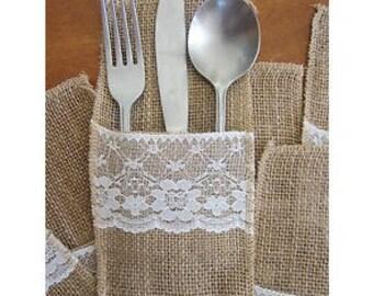 Burlap/Jute tableware bag