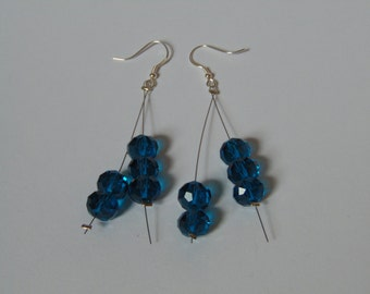 Blue Glass beaded earrings- Set