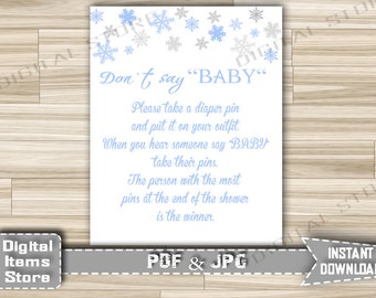 Winter Don't Say Baby Game - Printable Activity Diaper Pin Baby Shower Snowflakes - Baby Shower Don't Say Baby Sign - Instant Download - sb2