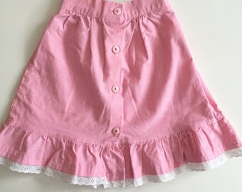 Vintage bubblegum pink 70s prairie style skirt for girl size 6