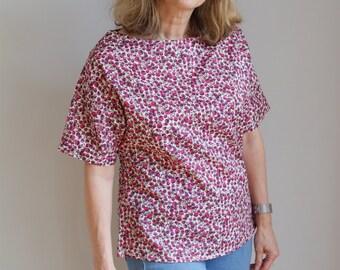 Liberty print kimono style top in 'Eliza C' pattern