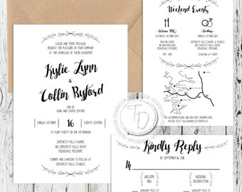 Boho Wedding Invitation, Rustic Wedding Invitation, Greenery Wedding Invitation, Brown Paper Wedding Invitation, Custom Wedding Suite