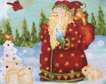 SALE OOP Santa fabric bundle, santa snowman fabric, Christmas fabric, Santa quilt fabric, fat quarter set, noel quilt bundle, cotton fabric