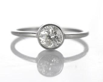 Diamond engagement ring   0.66 antique old European diamond   platinum   Handmade   stacking ring   reclaimed