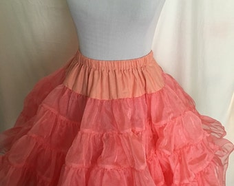 1970's 1980's super poofy crinoline pink shimmery cinch waist petticoat square dancing pinup S M L small medium large