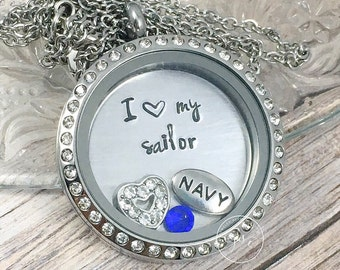 Navy Wife Necklace, Floating Locket, I Love My Sailor, Navy Mom Gift, Navy Girlfriend Jewelry, US Navy Gifts, Deployment Gift, Sailor's Wife