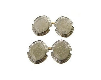 Edwardian 14K White Gold Engraved 2 Sided Cufflinks