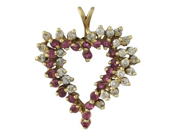 Vintage 14K Gold Diamond And Ruby Heart Pendant