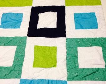Geometric baby boy quilt