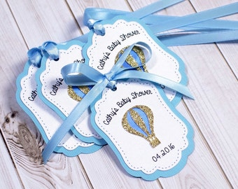 12 Baby Shower Favor Tags, PERSONALIZED, Balloon Favor tags, Thank you tags