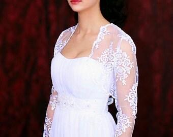 Long sleeve bolero white shrug white lace top shrug for bridel bolero jacket lace shrug evening bolero shrug couture bolero bridal cover up