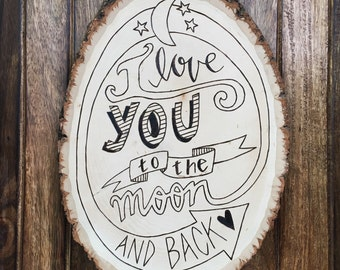I Love You to the Moon Customizable Plaque
