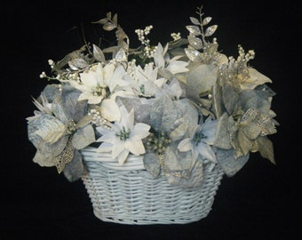 Silver White Poinsettia Christmas Basket Table Centerpiece.