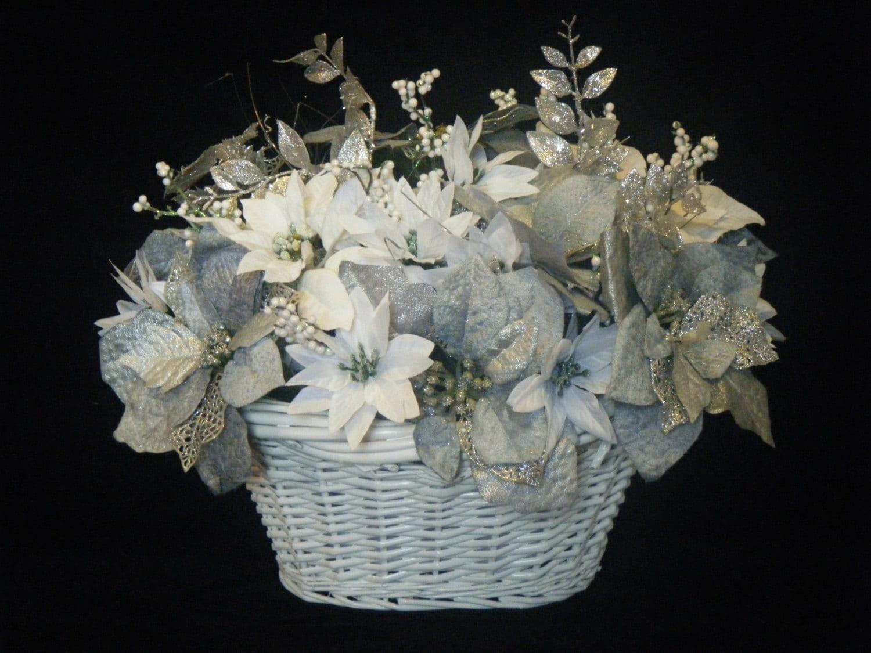 Silver white poinsettia christmas basket table centerpiece