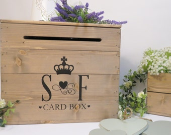 Personalised Rustic Wooden Wedding Card Post Box Vintage Wedding Card Box Card Crate Mail Box