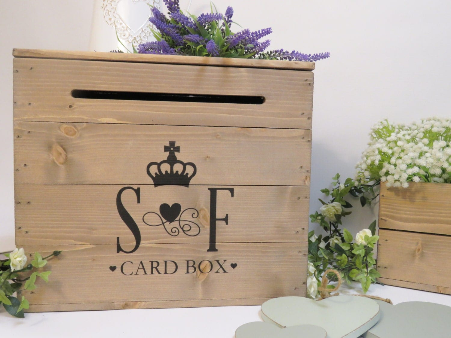 Personalised Rustic Wooden Wedding Card Post Box Vintage – Wedding Box for Cards