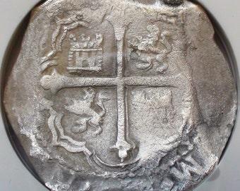 SHIPWRECK Silver Coin, 1556-1622 Mexico 8 Reales Old Shipwrecked Mexican Silver Coin NGC