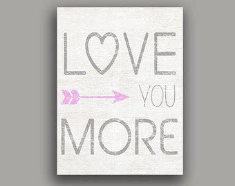 Love You More typography word art home decor