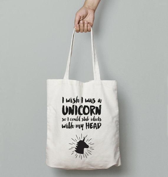 If I Was a Unicorn Funny Tote Bag | Market Bag | Shopper Bag | Beach Bag | Travel Bag | Funny Bag | Shoulder Bag