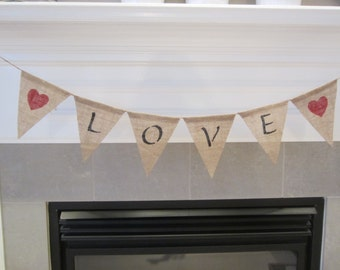 Love banner with hearts - Valentine's Day banner with red hearts