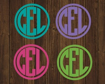Monogram Circle Decal - Solid Circle Monogram Decal - Monogram Car Decal - Monogram Decal - Car Decal -Custom Car Decal-Monogram Decal