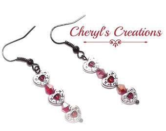 Simple Heart Earrings for your valentine!