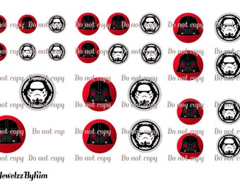 Digital collage sheet with Stormtrooper and Darth Vader angry bird 10 - 12 - 14 - 16 - 18 - 20 mm for glass cabochon glass making