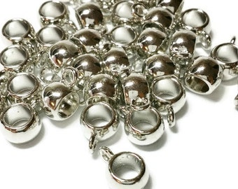 50 Bail Beads Round Silver Tone Smooth Fit 11mm x 8mm, 8073, 748, 300a