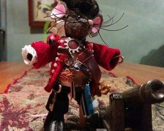 Captain Rattigan, Steampunk Mousekin Pirate (Pi-Rat), Miniature Plush Art Doll w/Cannon