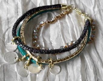 Multi-Strand Bracelet with Charms