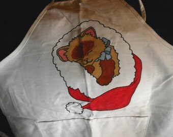 Christmas Kitten Hand Painted Apron
