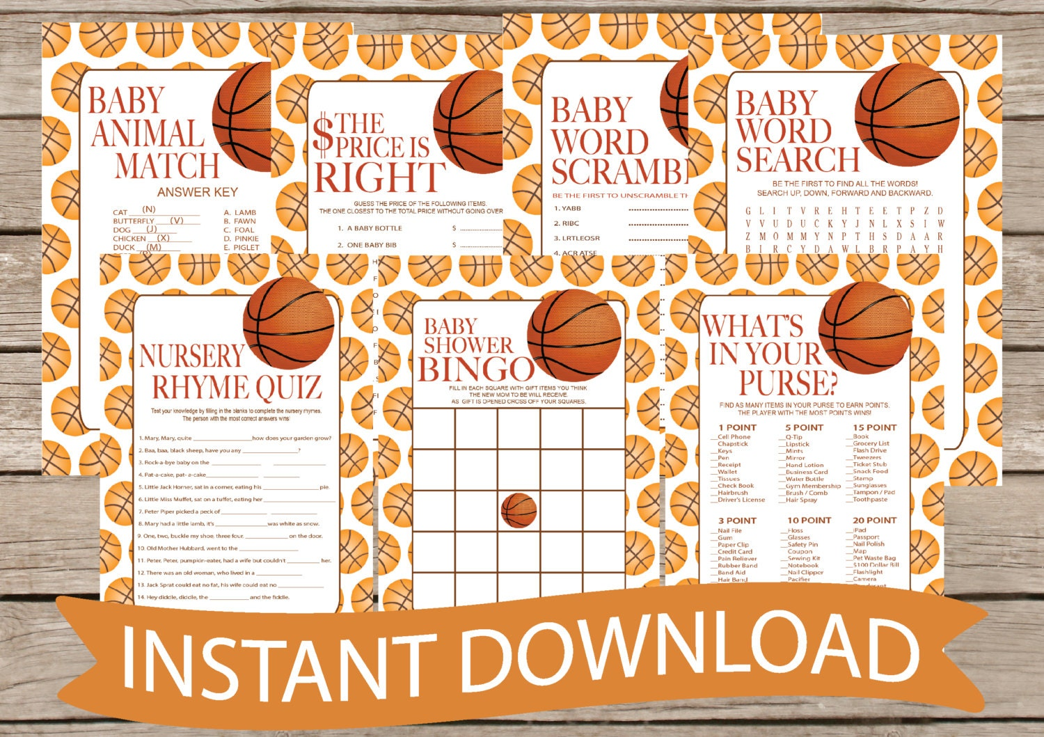 basketball baby shower game pack instant download 7 shower