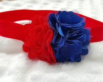 Red flower headband, 4th of July headband, patriotic headband, red and blue headband, chiffon headband