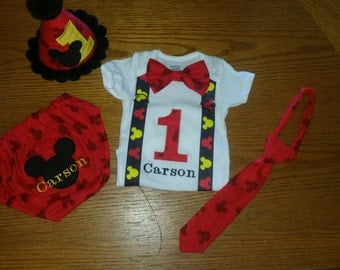 Mickey Mouse Cake Smash Outfit; Mickey Mouse Birthday; Mickey Mouse Costume