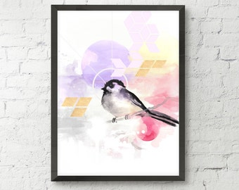 Bird watercolor art print,  pastel, modern geometric bird print, home wall decor, modern apartment decor, nature illustration, soft colours