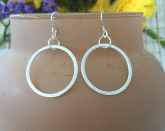 Small Brushed Silver Earrings