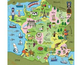 La France-Map-France Print-Travel Print-Home Decor-French Print-Fun Print-Illustration Print (8 X 10 in)