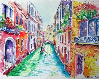 Watercolour painting of Venice