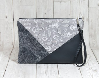 Grey clutch bag, Vegan clutch with leaves print, Fabric clutch bag, Geometric clutch evening purse, Simple clutch handmade wristlet clutch