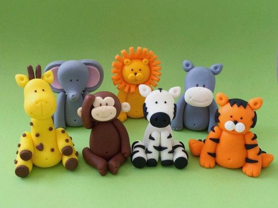 Cake Decorations Safari Animals : 5 Fondant Jungle Animals Cake Topper. Edible Animal Cake