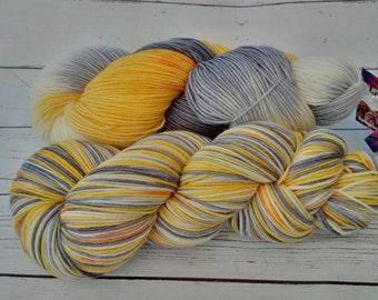 Merino 8 ply Squishy Sock Yarn, Hand Dyed, Merino, Nylon SW, 437 yards