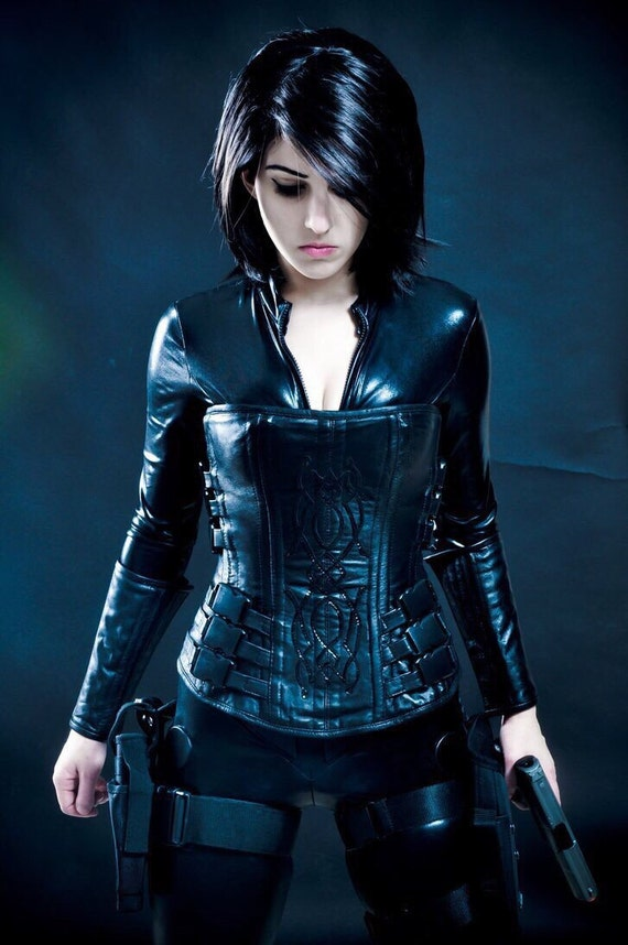 Custom Selene Costume Steel Boned Italian Napa Leather corset bracers + jacket