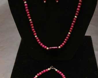 Bracelet necklace & earring set