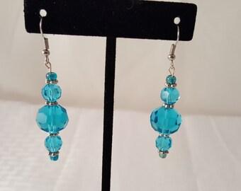 Blue Glass Earrings - Blue Earrings - Glass Bead Earrings - Beaded Earrings - Blue Drop Earrings - Blue Jewelry - Glass Earrings - Blue