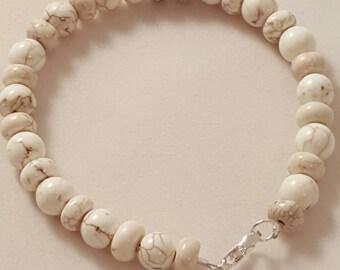 White & Brown Bracelet - Women's Bracelet - Men's Bracelet - White Bracelet - Stone Bracelet - White Stone Bracelet - Women's White Jewelry