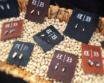 Studs, Cuffs, Sterling silver or 14k gold-fill earrings, choose your width and material